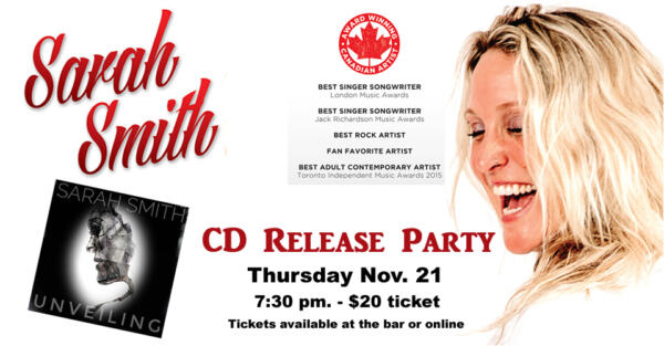 Sarah Smith CD Release Party @ Harbour Street Fish Bar | Collingwood | Ontario | Canada